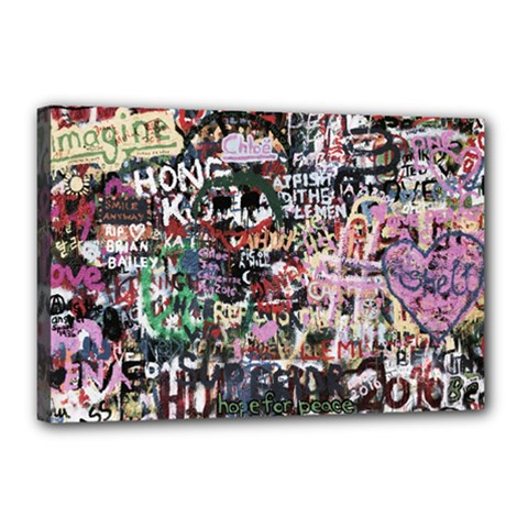 Graffiti Wall Background Canvas 18  X 12  (stretched)