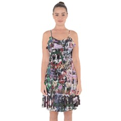 Graffiti Wall Background Ruffle Detail Chiffon Dress