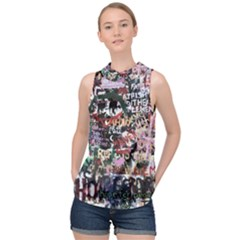 Graffiti Wall Background High Neck Satin Top
