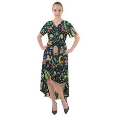 Texture Patterns Aliens Rockets Space Front Wrap High Low Dress