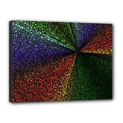 Abstract Colorful Pieces Mosaics Canvas 16  X 12  (stretched)