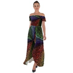 Abstract Colorful Pieces Mosaics Off Shoulder Open Front Chiffon Dress