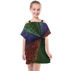 Abstract Colorful Pieces Mosaics Kids  One Piece Chiffon Dress