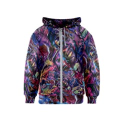 Multicolored Abstract Painting Kids  Zipper Hoodie