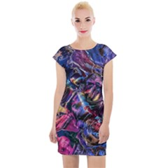 Multicolored Abstract Painting Cap Sleeve Bodycon Dress