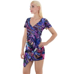 Multicolored Abstract Painting Short Sleeve Asymmetric Mini Dress
