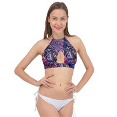 Multicolored Abstract Painting Cross Front Halter Bikini Top