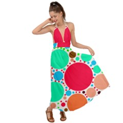 Dots Backless Maxi Beach Dress by impacteesstreetweareight