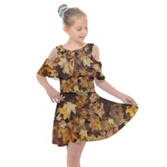 Late October Leaves 3 Kids  Shoulder Cutout Chiffon Dress by bloomingvinedesign