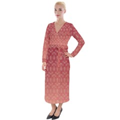 Red Gold Art Decor Velvet Maxi Wrap Dress