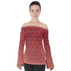 Red Gold Art Decor Off Shoulder Long Sleeve Top