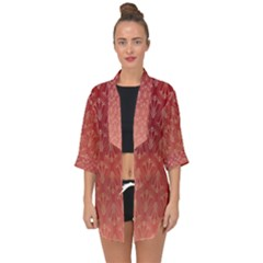 Red Gold Art Decor Open Front Chiffon Kimono by HermanTelo
