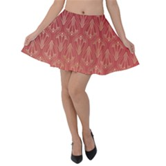 Red Gold Art Decor Velvet Skater Skirt