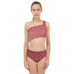 Red Gold Art Decor Spliced Up Two Piece Swimsuit