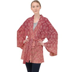 Red Gold Art Decor Long Sleeve Velvet Kimono  by HermanTelo