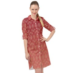 Red Gold Art Decor Long Sleeve Mini Shirt Dress by HermanTelo