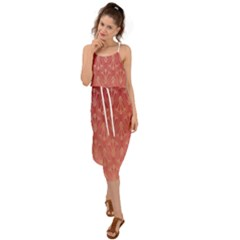 Red Gold Art Decor Waist Tie Cover Up Chiffon Dress