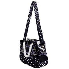 Abstract Black Blue Bright Circle Rope Handles Shoulder Strap Bag