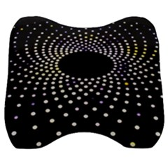 Abstract Black Blue Bright Circle Velour Head Support Cushion