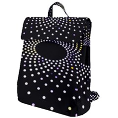 Abstract Black Blue Bright Circle Flap Top Backpack