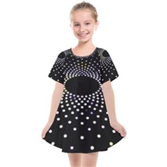 Abstract Black Blue Bright Circle Kids  Smock Dress by HermanTelo
