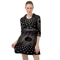 Abstract Black Blue Bright Circle Mini Skater Shirt Dress by HermanTelo
