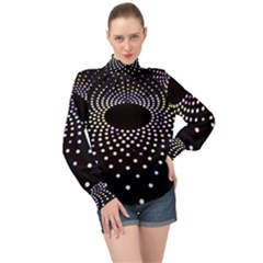 Abstract Black Blue Bright Circle High Neck Long Sleeve Chiffon Top