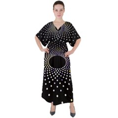Abstract Black Blue Bright Circle V Neck Boho Style Maxi Dress