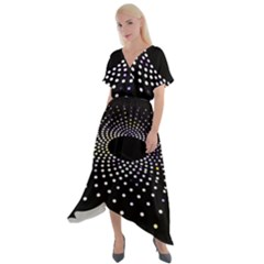 Abstract Black Blue Bright Circle Cross Front Sharkbite Hem Maxi Dress by HermanTelo