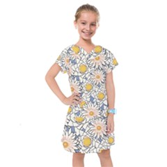 Flowers Pattern Lotus Lily Kids  Drop Waist Dress