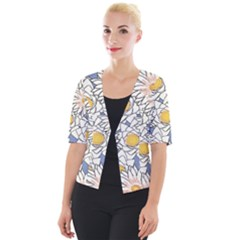 Flowers Pattern Lotus Lily Cropped Button Cardigan