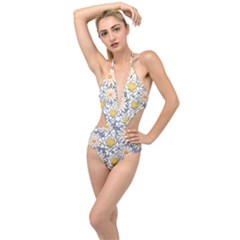 Flowers Pattern Lotus Lily Plunging Cut Out Swimsuit