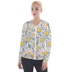 Flowers Pattern Lotus Lily Velour Zip Up Jacket