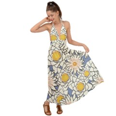 Flowers Pattern Lotus Lily Backless Maxi Beach Dress
