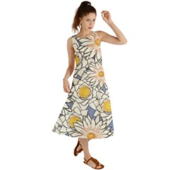 Flowers Pattern Lotus Lily Summer Maxi Dress