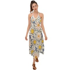 Flowers Pattern Lotus Lily Halter Tie Back Dress