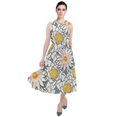 Flowers Pattern Lotus Lily Round Neck Boho Dress