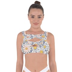 Flowers Pattern Lotus Lily Bandaged Up Bikini Top