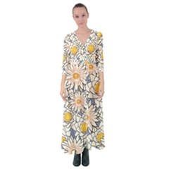 Flowers Pattern Lotus Lily Button Up Maxi Dress