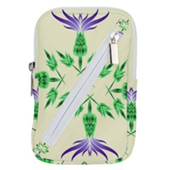 Thistle Flower Purple Thorny Flora Belt Pouch Bag (large)