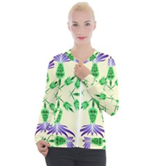 Thistle Flower Purple Thorny Flora Casual Zip Up Jacket