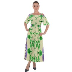 Thistle Flower Purple Thorny Flora Shoulder Straps Boho Maxi Dress