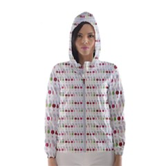 Wine Glass Pattern Women s Hooded Windbreaker