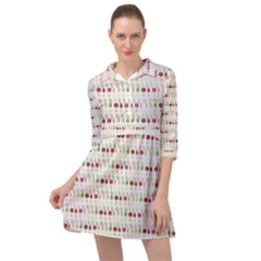 Wine Glass Pattern Mini Skater Shirt Dress