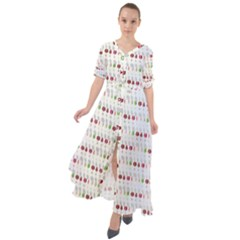 Wine Glass Pattern Waist Tie Boho Maxi Dress