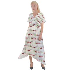 Wine Glass Pattern Cross Front Sharkbite Hem Maxi Dress by Alisyart