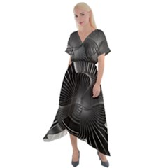 Lines Rays Background Light Cross Front Sharkbite Hem Maxi Dress by AnjaniArt