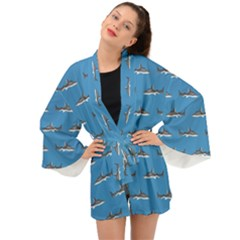 Shark Pattern Long Sleeve Kimono by bloomingvinedesign