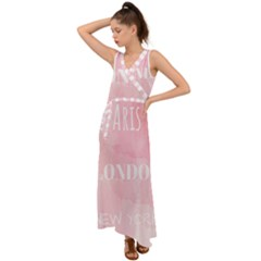 Paris, London, New York V Neck Chiffon Maxi Dress