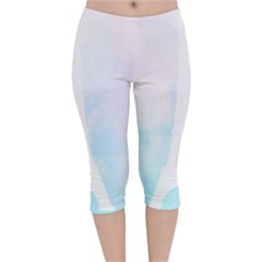 Pastel Eiffel s Tower, Paris Velvet Capri Leggings